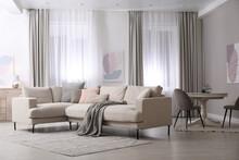 Stylish Sofa In Modern Living Room Interior