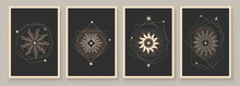 Abstract Contemporary Art With Celestial Geometry Shapes. Esoteric Mystical Celestial Stars Sacred Wall Art. Wall Decor Painting. Minimalistic Background Design. Vector Illustration.