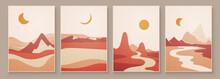 Abstract Landscape Composition Art With Sun And Moon. Earth Tones Colors Wall Art. Soft Color Painting House Decor. Minimalistic Background Design. Vector Illustration.