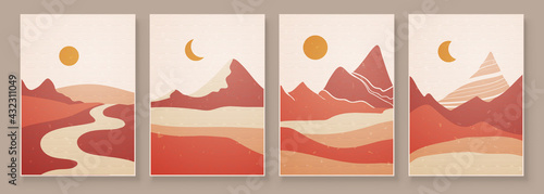 Fototapeta Abstract landscape composition art with sun and moon. Earth tones colors wall art. Soft color painting house decor. Minimalistic background design. Vector illustration. obraz