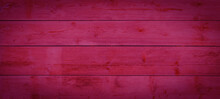 Abstract Grunge Old Magenta Pink Painted Wooden Texture - Wood Background Panorama Banner.