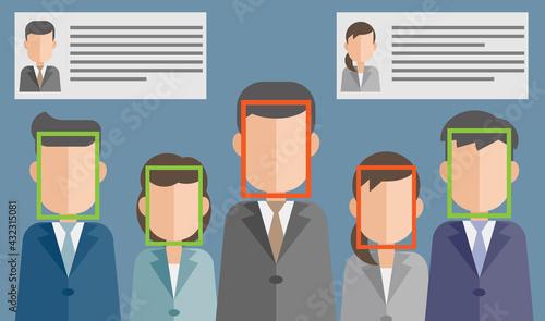 Fototapeta 顔認証による個人情報漏洩のリスク obraz