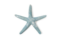 Top View Green Blue Starfish On Isolated White Background