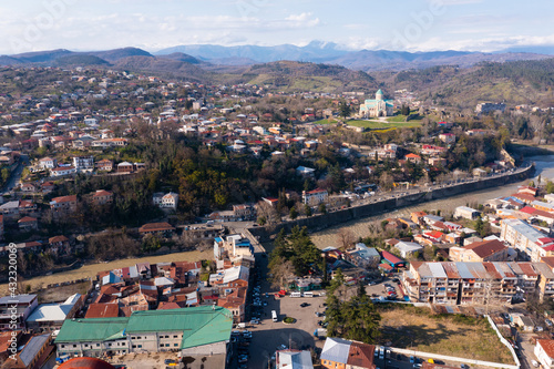 Fototapeta Aerial view of cathedral of the Dormition in the center of Kutaisi city, Georgia obraz