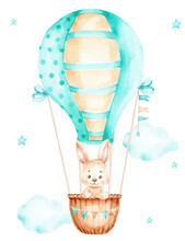 Cute Cartoon Bunny Flying In Blue Air Balloon; Watercolor Hand Drawn Illustration; Can Be Used For Kid Poster Or Baby Shower; With White Isolated Background