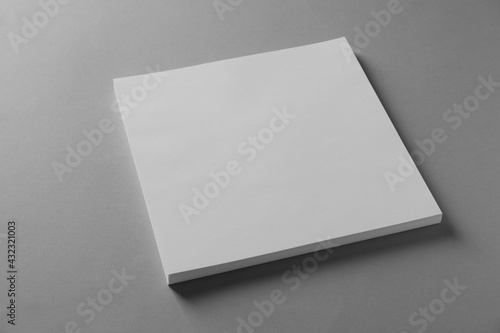 Stack of blank paper sheets for brochure on light grey background - fototapety na wymiar