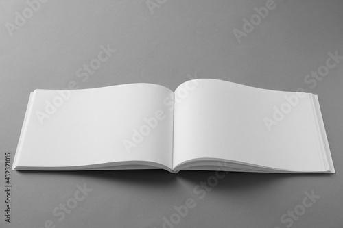 Open blank brochure on light grey background - fototapety na wymiar