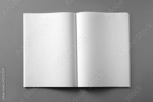 Open blank brochure on light grey background, top view - fototapety na wymiar