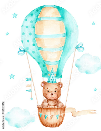 Teddy bear boy in blue cap flying on air balloon; watercolor hand drawn illustration; can be used for kid poster or baby shower; with white isolated background - fototapety na wymiar