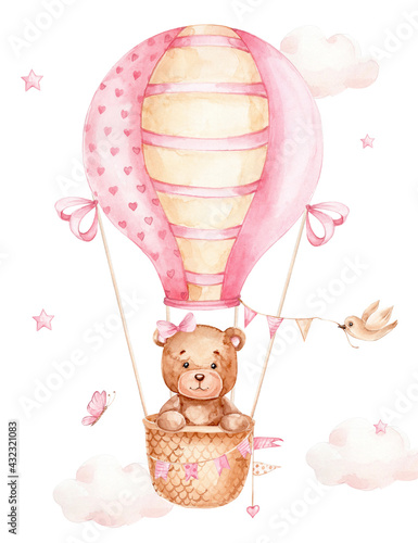 Obraz Teddy bear girl flying on pink air balloon; watercolor hand drawn illustration; can be used for kid poster or baby shower; with white isolated background - fototapety do salonu