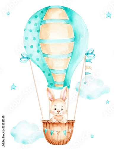 Cute cartoon bunny flying in blue air balloon; watercolor hand drawn illustration; can be used for kid poster or baby shower; with white isolated background - fototapety na wymiar
