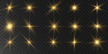 A Group Of Light Effects, Stars On A Transparent Background.