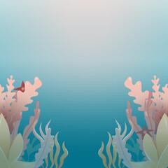 Fototapeta na wymiar Sea background with plants of the underwater world