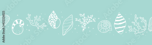Canvas Print Cute hand drawn sea shells seamless pattern, summer background, great for textil