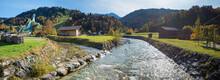 Partnach River And View To Famous Ski Jump Garmisch-Partenkirchen In Autumn, Panorama Landscape