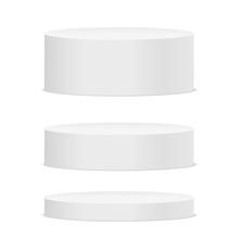 Empty White Round Podium On White Background. Vector