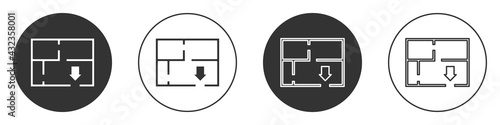 Fototapeta Black Evacuation plan icon isolated on white background