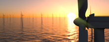 Large Off Shore Wind Farm At Sunset Panoramic 3d Render