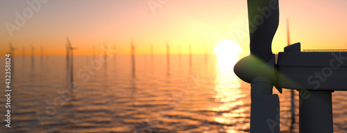 Stampa su Tela Large off shore wind farm at sunset panoramic 3d render
