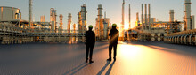 Technicians Supervisor Looking Out Onto An Oil Refinery At Sunset With Pipes And Steel 3d Render