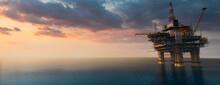 Large Off Shore Oil Rig Platform In The Ocean At Sunset 3d Render