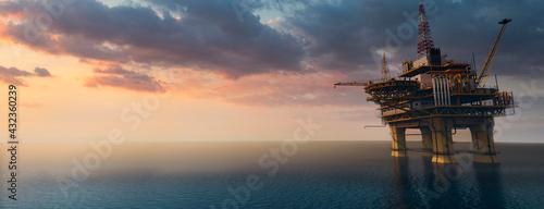 Fotografiet Large off shore oil rig platform in the ocean at sunset 3d render