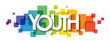 YOUTH colorful rainbow gradient vector typography banner on white background