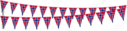 Fototapeta Garlands in the colors of Norway on a white background