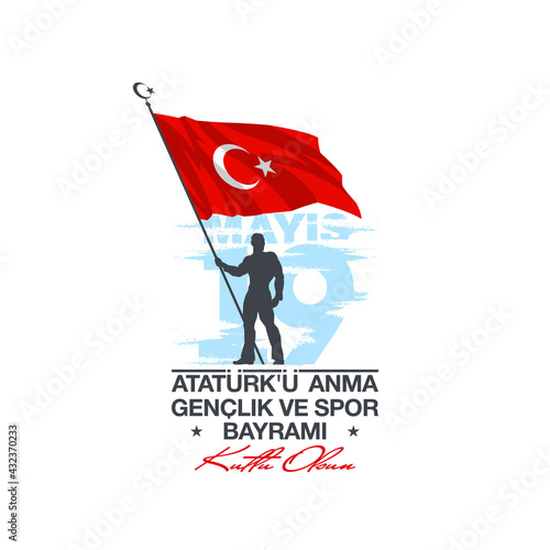 Turkish national holiday illustration banner 19 mayis Ataturk'u Anma, Genclik ve Spor Bayrami, tr: 19 may Commemoration Ataturk, Youth and Sports Day, isolated on White design Turkish holiday card - fototapety na wymiar