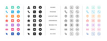 Business Card Contact Information Icons Set