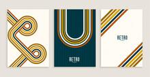 Retro Style Stripe Lines Flow Poster Design Background