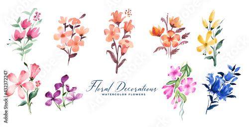 Valokuva cute small watercolor flowers decoration big set
