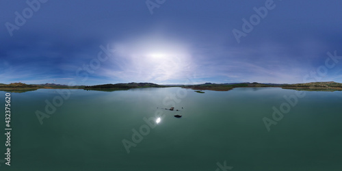 Wallpaper Mural 360 degree aerial photo of Ogliastro lake in the heart of Sicily with Etna view