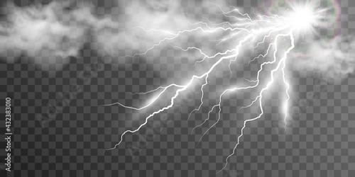 Fotografia Image realistic lightning flash thunder_2