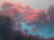 Sunset Sky. Dark Grey, Pink And Blue Clouds, Lush And Bright Clouds, Summer Colours, Summer Sky
