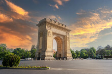 Historical Monument In Buchareast, Arch Of Triumph Representing The Victory Of Romanian Soldiers Who Managed To Liberate The Capital In The Second World War.