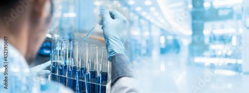 Fotografija banner background of scientist research in medical science laboratory, medicine