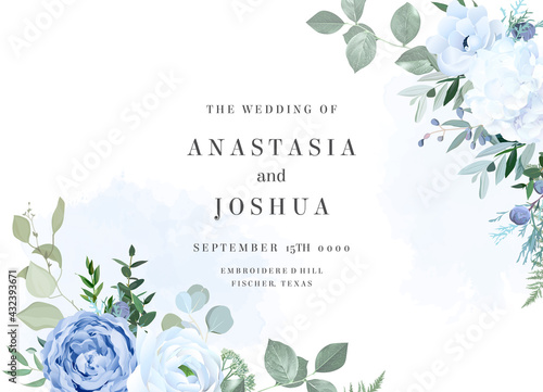 Fotografering Dusty blue rose, white hydrangea, ranunculus, anemone, eucalyptus vector design