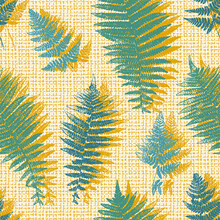 Natural Fern Leaf Print Silhouettes. Floral Background With Imitation Linen Burlap Texture. Stamp Leaves Vector Seamless Pattern. Textured Forest Plant Imprint Vintage Wallpaper. Yellow Green Color