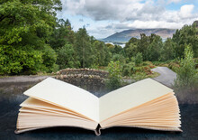 Stunning Long Exposure Landscape Image Of Ashness Bridge In English Lake District During Late Summer Afternoon With Dramatic Lighting Coming Out Of Pages In Imaginary Reading Book