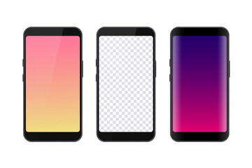 Set of smartphones for user interface design placement. Blank screens of smartphones to insert your content. Vector illustration.