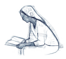 Woman Reading The Book. Pencil Drawing