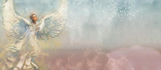 Angel with bird. Watercolor background, design element