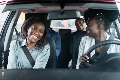 Carpool Ride Sharing. African People - fototapety na wymiar