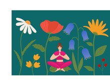 A Girl Sitting Among Giant Flowers, In A Lotus Position, A Girl In One Of The Yoga Poses Sits With Closed Eyes Among Poppies, Daisies And Other Hypertrophied Flowers