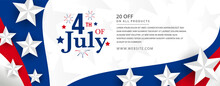 4th Of July American Independence Day Celebration Design With Firework And Stars On Modern United States National Flag Wave With 3d Star Promotional Template.
