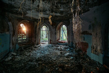 Inside Old Ruined Abandoned Historical Khvostov's Mansion In Gothic Style