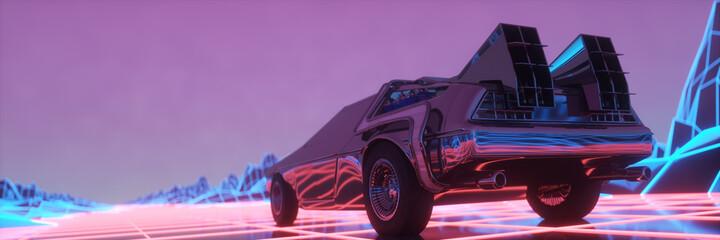 Retro futuristic car in 1980s style moves on a virtual neon landscape. 3d illustration