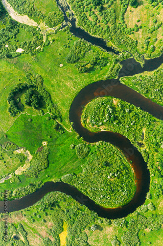 Aerial View Of Summer Curved River Landscape In Sunny Summer Day. Top View Of Beautiful European Nature From High Attitude In Summer Season. Drone View. Bird's Eye View.