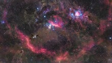 The Constellation Orion With Colorful Stars And Faint Dust. Orion Nebula, Horsehead Nebula And Flame Nebula.